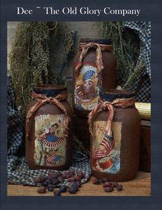 Americana Grungy Candle Luminare Jars $9.00