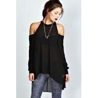 $30.51 boohoo Isabelle High Neck Cut Out Shoulder Blouse - black Click to learn more #beauty #fashion #bbloggers #fbloggers #shop #clothes