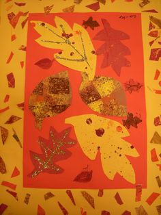 attempt this w/1st grade? fall leaves, art project, grade art, art lesson, art idea, collages, leaf collag, fall leaf, 1st grade