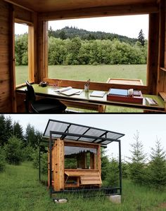 What do you think of this home office come writers retreat in Wren, Oregon?     The Watershed is an off-the-grid writer's retreat that architect Erin Moore designed for her mother, nature writer Kathleen Dean Moore.    Not only is it out in the wilderness, the owner guarantees to discourage visitors of the human variety by not having a road to the retreat, or even a walking track!    Would you like a quiet space like this?