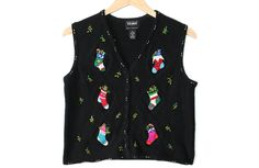 Christmas Stockings Tacky Ugly Sweater Vest Women's Petite Size Large (PL) $25