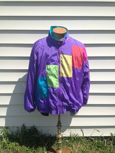 Retro // Vintage Purple Color Block Jacket // 80s. $19.00, via Etsy.