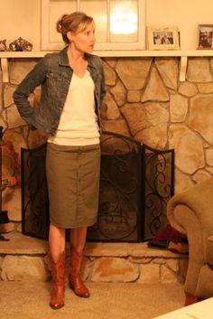 Pencil skirt from Mens shirt tutorial.  http://blog.megannielsen.com/2009/06/pencil-skirt-from-mens-button-shirt/