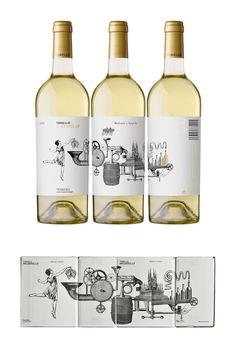 graphic, malvarello de, white wines, label design, wine labels