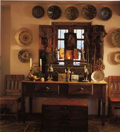 Rugged Mexican furniture with thick pottery.