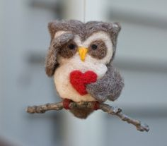 Needle Felted Owl Ornament - Searching with Heart. $21.00, via Etsy.