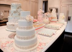 wedding tables, table displays, big cakes, sweet tables, soft colors, dessert buffet, flower cakes, blue cakes, dessert bars