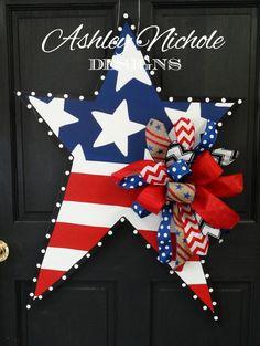 Patriotic Star Wooden Door Hanger Door by DesignsAshleyNichole, $65.00
