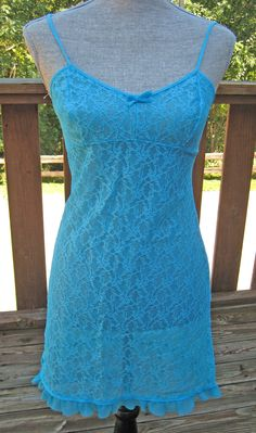 Vintage 1970s Turquoise Lace Short Night Gown By Prova S. $23.00, via Etsy.