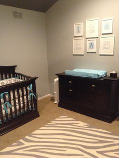 Espresso nursery furniture with gray, aqua and a pinch of white:) Love how it turned out!