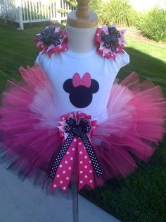 Hot Pink Minnie Mouse TuTu Set by ButterflyBowtique on Etsy, $40.00