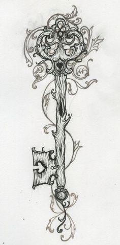 I love the nature-like feel of this key tattoo