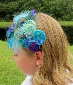 Rosette Headband Fancy Peacock hand rolled rosette headband