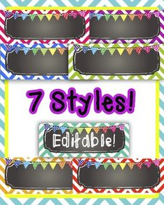 EDITABLE Chalkboard and Chevron desk tags/name plates/signs. Just type in your students' name and print! $