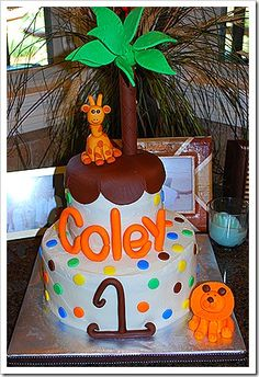 1st birthday wild animal cake!