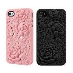 Rose iPhone  4\ 4S Case - Silicone Rose Embossing Cover
