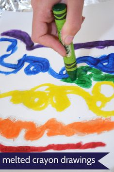 Try a whole new world of coloring with melted crayon drawing!