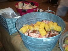 "2013's ""crab boil"" Low Country Boil - Shrimp, Red potatoes, Corn on the Cob, Andouille Sausage, and Garlic chicken. Served with Red Pepper Pasta and french Bread with BBQ Sauce, Ranch, Hot sauce { of course} and Garlic Butter."