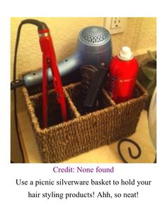 Use a picnic silverware basket to store your hair styling products!