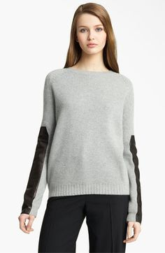 artsy relaxed - Reed Krakoff Leather Sleeve Cashmere Sweater