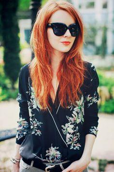 fashion, hair colors, ginger, red hair, blous, maison scotch, redhead, floral, shirt