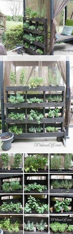 Free Standing Pallet Herb Garden Tutorial on DIYshowoff at http://diyshowoff.com/2013/05/15/free-standing-pallet-herb-garden/