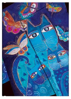 Blue Cats & Butterflies; part of Paperblanks' Laurel Burch Fantastic Felines collection of writing journals.