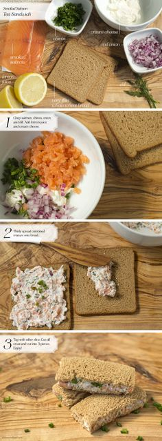 Tea Sandwich: SmokedSalmon - Home - Oh, How Civilized Make it a BLT -- add bacon, lettuce and thin sliced cherry tomatoes on top of the salmon spread #omnivorus.com