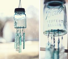 ball jars, blue mason jars, color, mobil, wind chimes, mason jar wind chime, firefli, sea glass, screened porches