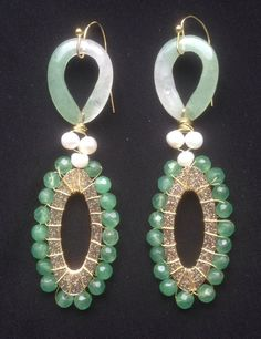 Handmade Earrings with Authentic Emerald Gemstones by EcuadorsArt, $135.00