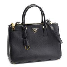 prada Saffiano leather tote black