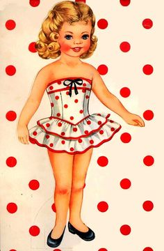 Paper doll girl - How cute is she!! baby products, little girls, kids rooms decor, polka dots, kid rooms, vintage paper dolls, papers, little miss, kids toys