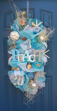 Beach/Summer deco mesh wreath  beach swag  by WonderfulWreathsKim