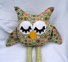 Stuffed Owl Toy Plush Owl Alphabet Toy by bungalowquilts on Etsy, $28.00