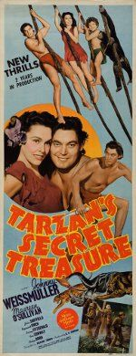 Florida Movie Posters: Tarzan's Secret Treasure, 1941, filmed at Wakulla Springs, near Tallahassee; Even after most studios had gone to the West Coast, many films still included some scenes shot in Florida. Tarzan swung through the Florida jungles, swimming champion turned actress Esther Williams frolicked on the beaches, and The Creature from the Black Lagoon lurked in the state's dark and mysterious springs.