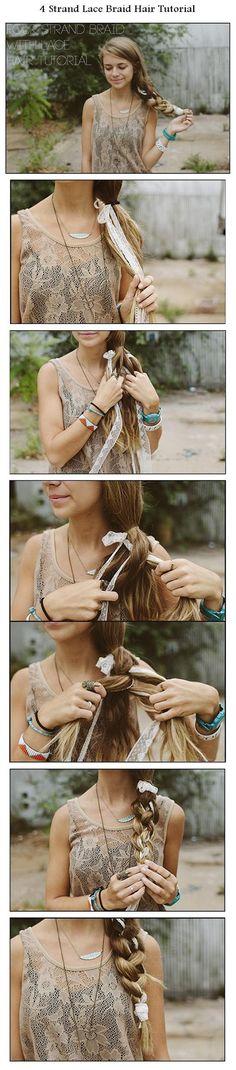 4 Strand Lace Braid Hair Tutorial | hairstyles tutorial