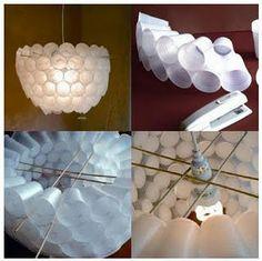 Novedosa lampara realizada con vasos descartables plasticos.