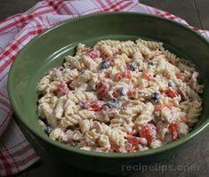 Bacon Ranch Pasta Salad Recipe making for grad party