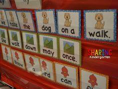 Sharing Kindergarten: Sight Word Stations for Primer words... sentence scrambles