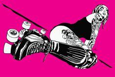 Tattooed Girl on Roller Skates by danpro #rollerderby #rollergirl #skating #skate #danpro