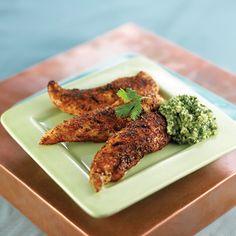 South Beach Diet spicy Chicken fingers with cilantro sauce