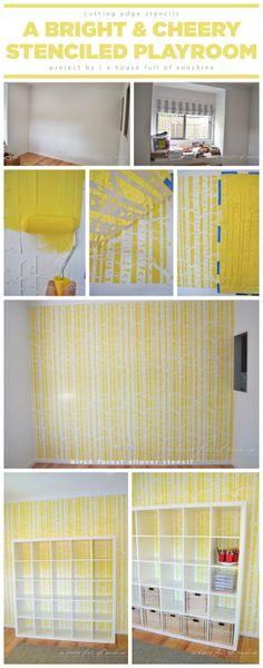 A DIY playroom with a Birch Forest Stenciled accent wall.. http://www.cuttingedgestencils.com/allover-stencil-birch-forest.html  #stenciling #playroom #birch #wall #stencils