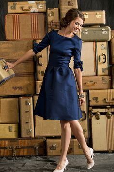 Puff Sleeve Nutcracker Dress - I have an old Artist Series dress that's this color with a similar neckline. I could totally cut off the bottom and turn it into this dress. Cool!