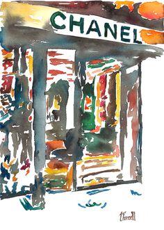 Original Watercolor Painting, Fashion Illustration  - Chanel Storefront, Jennifer Purcell on Etsy, $900.00 ✭Teresa Restegui http://www.pinterest.com/teretegui/ ✭