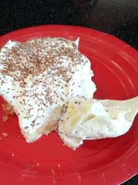 Banana Pudding Squares  35 Vanilla wafers, finely crushed (about 1 ¼ cups) ¼ cup margarine, melted 1 8 oz package Reduced Fat Cream Cheese, soft ½ cup powdered sugar 1 12 oz container Reduced Fat Cool Whip, thawed, divided 3 Bananas, sliced  Click Here for the full recipe: http://www.q99fm.com/BreakfastClub/FDT2014.aspx cup