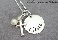 Cross Charm  Handstamped Jewelry  Sterling by DivineDesignJewelers, $37.95