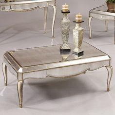 Bassett Mirror Collette Rectangular Cocktail Table in Antique Gold