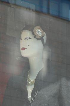 Through the shop window.
