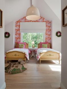Accent wallpapered wall girls bedroom!  love!