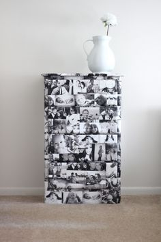 "From ""see kate sew"", Mod Podge dresser DIY tutorial.  Dress up old furniture with some (or all) of your favorite photos!"
